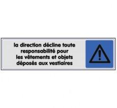 Plaque de porte plexi couleur direction responsabilité vestiaires
