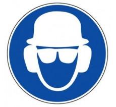 Panneau PVC rigide obligation de porter casque et lunettes