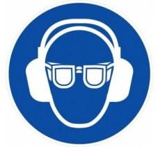 Panneau PVC rigide obligation de porter des lunettes et un casque anti-bruit