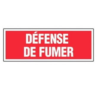 Panneau PVC rigide dim: H 120 x L 330 mm défense de fumer
