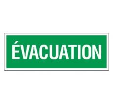 Adhésif ou panneau PVC rigide dim: H 120 x L 330 mm Evacuation