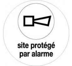"""Adhésif souple """"Site protégé par alarme"""" 2 diamètres au choix"""