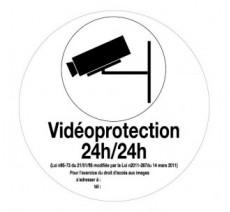 """Panneau PVC rigide """"Vidéoprotection 24h/24h"""" Ø 80 ou 180 mm"""