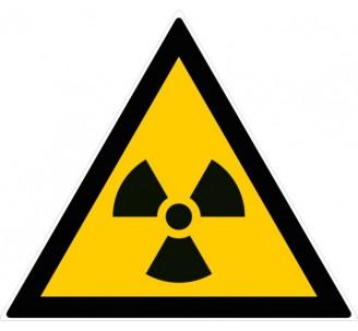 Adhésif souple de 100mm de côté , danger Matières radioactives