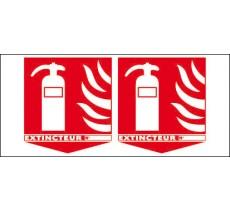 Panneaux PVC Priplack dim: H 200 x L 450 mm extincteur avec flèche en drapeau triangulaire