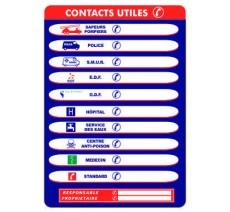 """Panneaux PVC Priplack """"contacts utiles"""" - Format A4"""