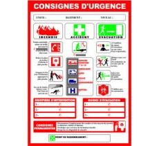 """Panneaux PVC Priplack """"consignes d'urgence"""" - Format A4"""