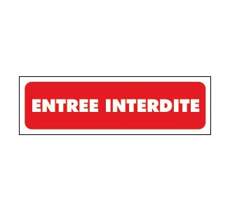 Panneaux PVC Priplack dim: H 60 x L 200 mm entrée interdite